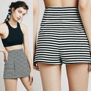 Free People Riker Striped High Waist Ponte Shorts